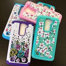 For LG Treasure Tracfone HARD&SOFT Rubber Hybrid Diamond Bling Skin Case Flowers