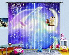 3D STAR Delfin 83 Blockade Foto Vorhang Druckvorhang Vorhänge Stoff Fenster DE