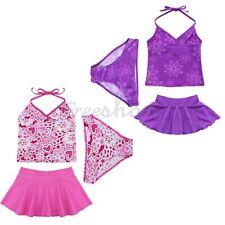 Kids Girls 3PCS  Halter Tankini Swimwear Bathers Swimmers Swimsuit Size 2 - 14