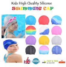 Kids Swimming Hat Silicone Elastic Flexible Durable Comfortable Swimming Cap UK