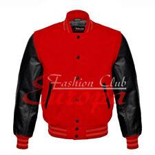 American Unisex Black Real Leather Sleeves Letterman College Varsity Wool Jacket