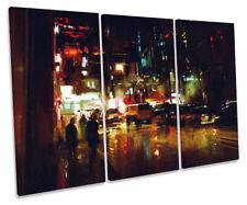 Abstract Modern City Life Print CANVAS WALL ART Triple Panel