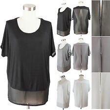Womens Plus Top Short Sleeve Chiffon Blouse Open Back Stylish Dressy Loose