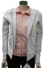 Felpa da donna rosa bianco Em-club con cappuccio manica lunga doppiata casual