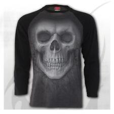 Espiral Directo solemne cráneo Contraste Manga Larga T-Shirt/Biker/Calavera/GRY
