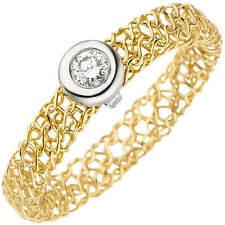 Anillo de Mujer con Diamante Brillante, Trenzado, 750 Oro Blanco Amarillo