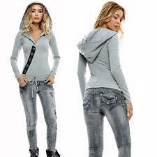 Foggi Jeansoverall Damenoverall Jeans Overall Röhrenjeans kapuzen Pullover Grau