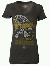 Boston Bruins NHL Women's Reebox Gray V-Neck Team Short Sleeve T-shirts: L-2XL