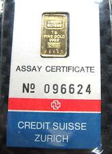 1980s CREDIT SUISSE 1 GRAMME 999 GOLD BAR (SEALED COA)