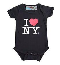 I Love NY New York Baby Infant Screen Printed Heart Bodysuit Black