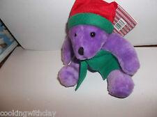 NEW! 2000 CHRISTMAS HOLIDAY STUFFED PLUSH PURPLE BEAR RED CAP STOCKING STUFFER