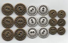 6x Vintage De Metal Militar Retro Botones ~ Plata o Bronce de 20 mm 22 mm