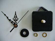 CLOCK MOVEMENT QUARTZ . LONG SPINDLE. 60mm BLACK HANDS