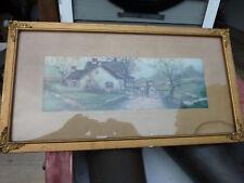 "1906 A. Fox watercolor print GOLD frame 22 x 11"""
