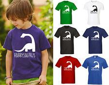 Cualquier Nombre Personalizado Niños Dinosaurio T-Shirt-Stocking Filler Chicos Chicas
