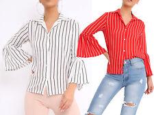 New Bell Sleeve Striped Collar Shirt Womens Button Through Blouse Smart Work Top