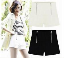 Women Double Zipper Shorts High Waisted Chiffon Hot Mini Hot Pants Trousers
