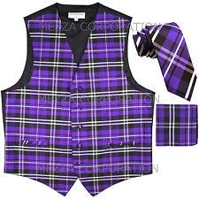 """New Vesuvio Napoli Men's plaid Tuxedo Vest_2.5"""" Self Tie Necktie & Hankie Purple"""
