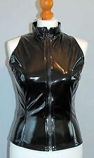 Sexy black pvc zip front shirt choker top
