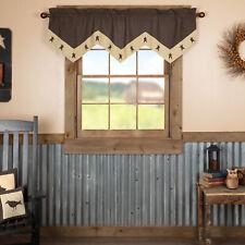 VHC Primitive Valance Kettle Grove Star Kitchen Curtains Rod Pocket Black