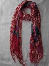 Nouveau peau de lion et conception de rose écharpe Wrap Rouge shwal 170cm x 68cm