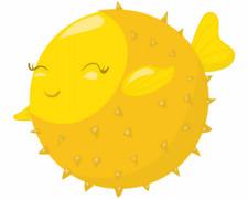 Süßer Kugelfisch Aufkleber Sticker Autoaufkleber Scheibenaufkleber