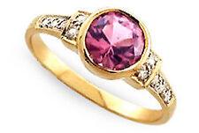 9ct Solid Gold Vintage Insp Pink Tourmaline & Diamond Ring R190 Custom