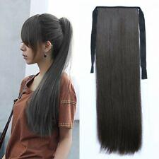 Lang Zopf Pferdschwanz Haarteil Haarverlängerung Haarverdichtung Dunkelbraun # 4