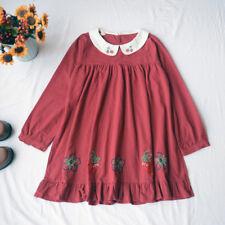 Mori Girl Japanese Sweet Lolita Strawberry Embroidery Doll Collar Doll Dresses