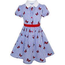 Girls Dress School Uniform Blue Strip Butterfly Print Gingham Size 4-10