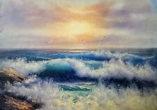 See Meer Wellen Reproproduktion Kunstwerke von zeitgenössischen Malern 90x70 Neu