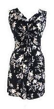 Ladies Black White Printed Knot Front V Neck Tunic Short Sleeveless Dress NWT