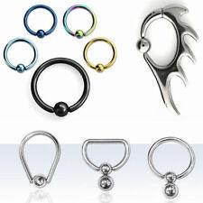 Oval Eyebrow Tragus Bars Ear Lip Piercing Ball Closure Captive Bead Rings New US