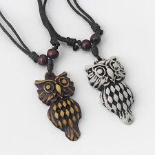 1/12Pcs White/Brown Yak Bone Resin Owl Charms Pendant Necklace Adjustable