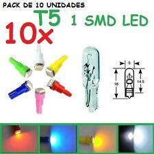PACK DE 10 T5 1 SMD LED 5050 10X BOMBILLA COCHE MOTO TABLERO RELOJES