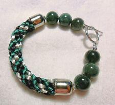 """Kumihimo bracelet, Moss Agate 10mm beads - 6"""", 6.5"""""""