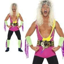 Adult Mens Wrestler Costume Bodysuit WWF 80s 90s Retro Stag Fancy Dress New