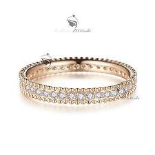 18K Rose Gold GF women's wedding band dress Simulated Diamond ring