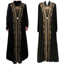 New Dubai Women Black Rhinestone Long Sleeve Abaya Muslim Maxi Kaftan Robe Dress