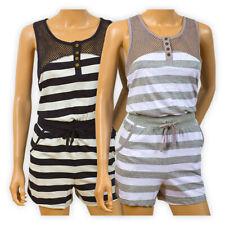 Womens Ladies Cotton Striped 2-Piece Playsuit Casual Racer Back Top T-Shirt Vest