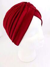 Turban Head Wrap Pleated Solid Dark Colors Full Head Coverage