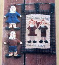 "Primitive Raggedy pocket doll pattern 11"" applique wallhanging 12x19 Anne"