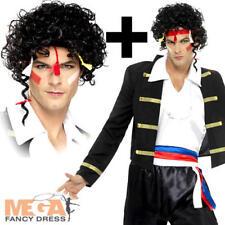 80's New Romantic + Wig Mens Fancy Dress Adam Ant Celebrity 1980s Adults Costume