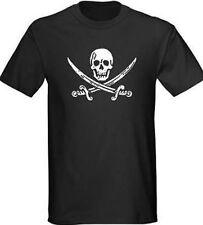 Jack Rackham Jolly Roger Pirate Biker Punk TShirt Black