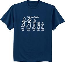 Men's t-shirt funny saying The Ass Family stick figure sticker design tee