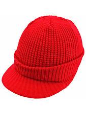 THERMAL RIBBED KNIT VISOR BEANIE CAP HAT