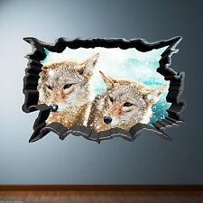 Todo Color agrietada pared Wild Fox Pared Arte Adhesivo De Transferencia Estampado Gráfico