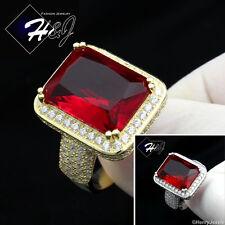MEN WOMEN 925 STERLING SILVER ICY DIAMOND GOLD/SILVER BLING RUBY RING*SR39