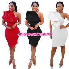 USA Women Elegant Fashion One Shoulder Body con Bandage Sexy Club Mini dress