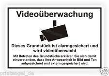 Schild Video - Grundstück wird videoüberwacht - als Folie oder Alu-Verbund Vi82